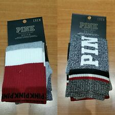 BNWT-Victoria Secret PINK Grey/Red/White Calf Length Crew Socks X2 (One Size)