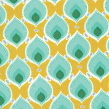 MODA Fabric Cuzco Kate Spain Plumage Peacock Feather Yellow YARD 27138-16