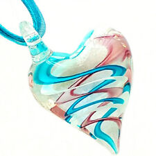 Clear Heart Handmade Lampwork Murano Glass Bead Pendant Ribbon Necklace Cord