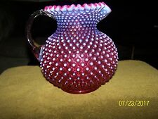 Cranberry  Hobnail Glass pitcher W/Ruffle Edge. beautiful  pitcher