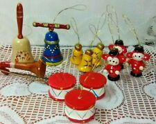 Lot of 12 Vintage Wood Ornaments. Drums, Monkeys, Bells, Trumpet