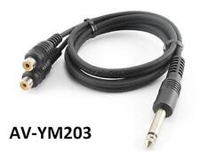 """3ft 1/4"""" (6.3mm.) Mono Plug to 2-RCA Female Audio Y-Cable, CablesOnline AV-YM203"""