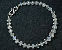 "N-3785 Rainbow Moonstone Gemstone Natural Rondelle Faceted 7"" Designer Bracelet"