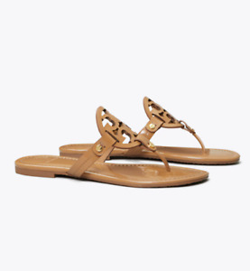 Tory Burch NEW Miller Sand Patent Leather Sandals Size 6.5 - 9.5 Runs Small $198