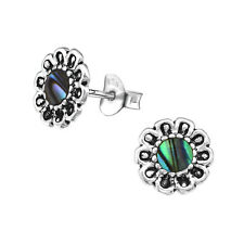 925 Sterling Silver Daisy Flower Green Abalone Shell Stud Earrings Girls Women