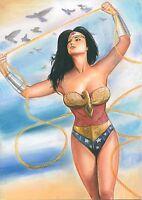 A00638 realistic Wonder Woman by Cliff *NOT A PRINT* original art drawing comics