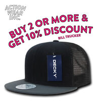 DECKY MEN'S MESH HAT TRUCKER HATS BASEBALL CAP SNAPBACK CAPS PLAIN TWO TONE HAT