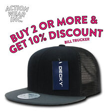 DECKY 1052 MENS HAT FLAT BILL TRUCKER HATS CASUAL BASEBALL SNAP BACK MESH CAP