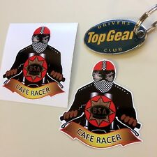 BSA CAFE RACER Classic Motorcycle Vintage Retro Stickers Decals 70mm  2 off