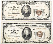 2 Pcs $20 National Federal Reserve Banks Boston + San Francisco Series 1929