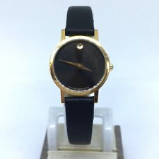 Movado Museam Gold Tone & Stainless Steel Black Dial Ladies Wristwatch 87-25-832