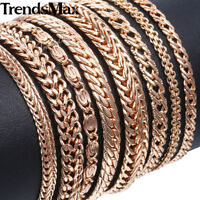 Trendsmax 585 Rose Gold Plated Chain Bracelet Mens Womens Ladies Bangle Jewelry