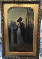 Superb Antique English Painting Ernest W. Appleby 1889 Oil on Canvas Gilt Frame