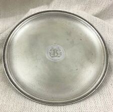Antique Christofle Silver Plated Tray Guilloche Engraved Engraving R Monogram