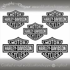 5 ADESIVI DECAL STICKERS BAR AND SHIELD MOTO CUSTOM-CASCO  HARLEY DAVIDSON