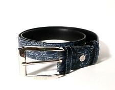Artioli Blue Nubuck Crocodile Leather Belt 95/38
