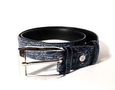 Artioli Blue Nubuck Crocodile Leather Belt 95/38