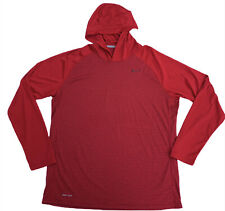 Nike Mens Dri-Fit Red Lightweight Long Sleeve Hooded Hoodie Pullover Shirt MenXL