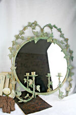 French antique 1930 Metal leaves art nouveau glass mirror with candle holders