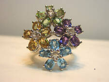 """10K White Gold Multi Gemstone Flower  Ring  """"New with Tag"""""""