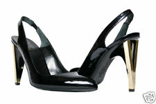 NEW VERSACE BLACK PATENT LEATHER SLINGBACK SHOES with V HEEL 36.5 - 6.5