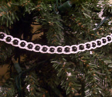 Crochet White on Black Beaded Christmas Garland 9'