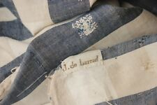 Fabric Antique French faded Vichy 18th century Curtain Indigo handwoven striped