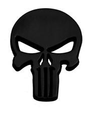 3d Metal Punisher Emblem Sticker Skeleton Skull Decal Badge Bike Car Truck Black