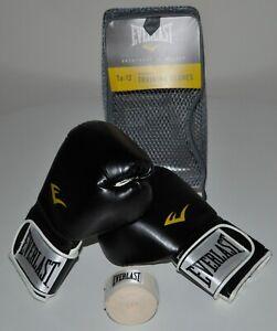 Everlast 12 oz TA:12 Advanced Training Gloves Boxing Black/White FREE HAND WRAP