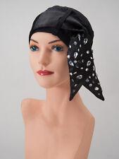 BLACK Bamboo Viscose LUCILLE Head Cover w RHINESTONE Scarf Cancer Chemo Turban