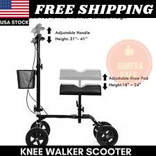 Knee Walker Scooter Steerable Foldable Turning Brake 350 Lbs Black New