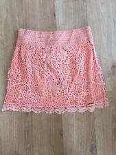 TOPSHOP Cutwork Lace Mini Skirt in Peach Size 10 bnwt
