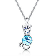 New Silver Plated Kitten Charm blue Crystal Pendant Chain Necklace Jewelry Gift