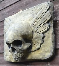 Winged Skull gothic wall plaque stone home or garden ornament 28cm x 23cm