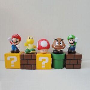5pcs Super Mario Bros Action Figures Figurines Set Cake Topper Decor Kid Toy