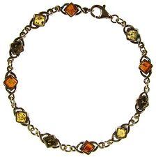 Bracciale donna in ambra naturale baltica e argento 925 - 20cm