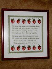 "Vtg Framed 1982 Handmade Cross Stitch Friendship Strawberries Glass 14.5"" X 14"""