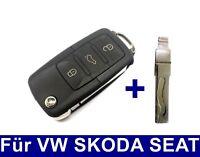 3Tasten Klappschlüssel + Schleifen Nachmachen Fräsen für VW SKODA SEAT HAA