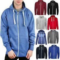 Mens Zip Up Hoodies American Plain Zipper Fleece Sweatshirts Jumper Top UK S-XL