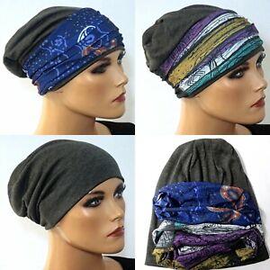 3-tlg. SET Beanie + 2 Bänder Kopfbedeckung bei Chemotherapie Chemomütze Chemo