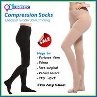 2019 Extra Firm 30-40 mmHg Waist High Compression Pantyhose Flight DVT Stockings