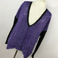 Robert Rodriguez 4 Shirt Top Purple Black Beaded Embellished Oversized V Neck R4