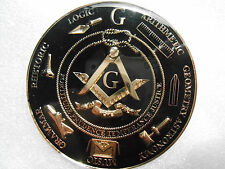 "Masonic - ""Working Tools"" Zinc Car Emblem 2.75"" Black background (PSC016B) *"