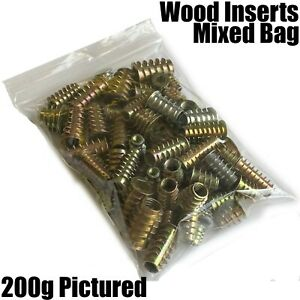 Mixed Bag of HEX FIXING TYPE D / E WOOD INSERTS NUTS M4 M5 M6 M8 M10 THREADED