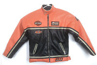 Harley Davidson Women's Biker Riding Jacket Faux Leather SZ XL 18 Orange Black