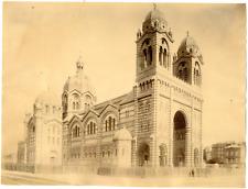 France, Marseille, la basilique Notre-Dame-de-la-Garde vintage albumen print T
