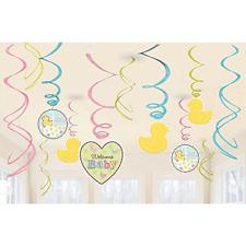 Baby Shower Swirl Decoration Boy Girl Multi Color Ducks Umbrellas Party Supplies