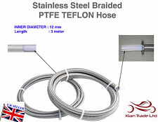12MM x 1METER STAINLESS STEEL BRAIDED PTFE TEFLON FUEL HOSE LINE OIL PETROL HOSE