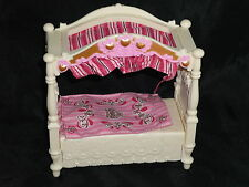 Fisher Price Loving Family Dollhouse Pink & White Canopy Bed with Blanket