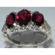 Victorian Design  English Sterling Silver Natural 3.3ct Almandine Garnet  Ring